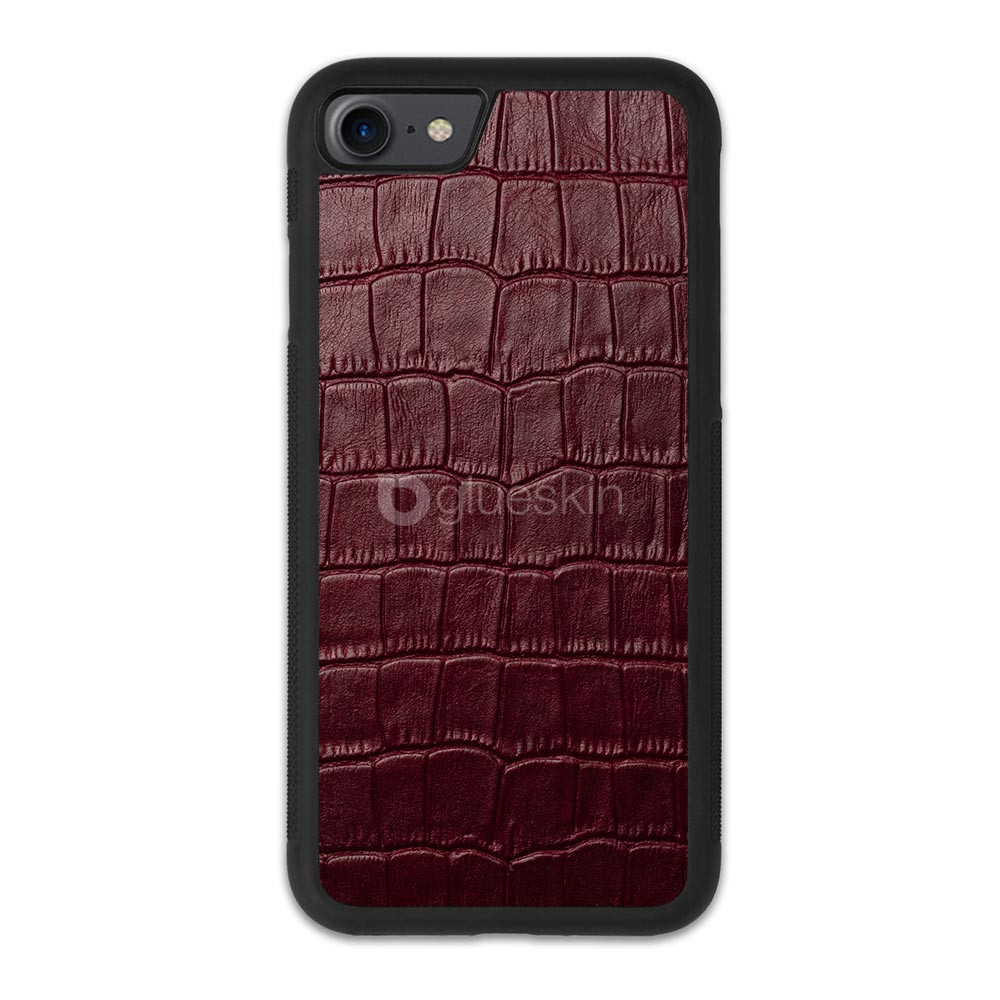 Чехол с кожей WINE RED CROCO для Apple iPhone 7/8/SE 2020