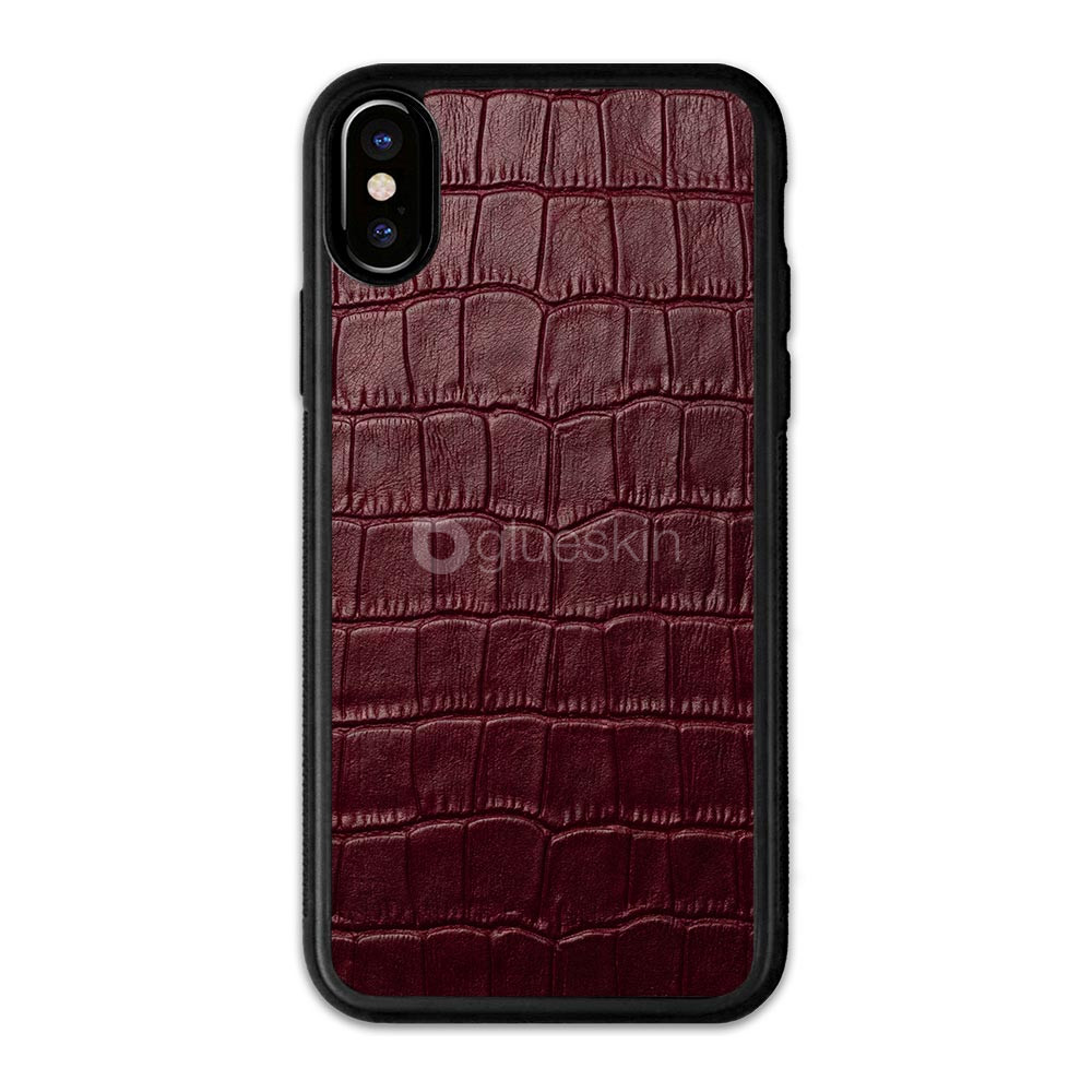 Чехол с кожей WINE RED CROCO для Apple iPhone X/Xs