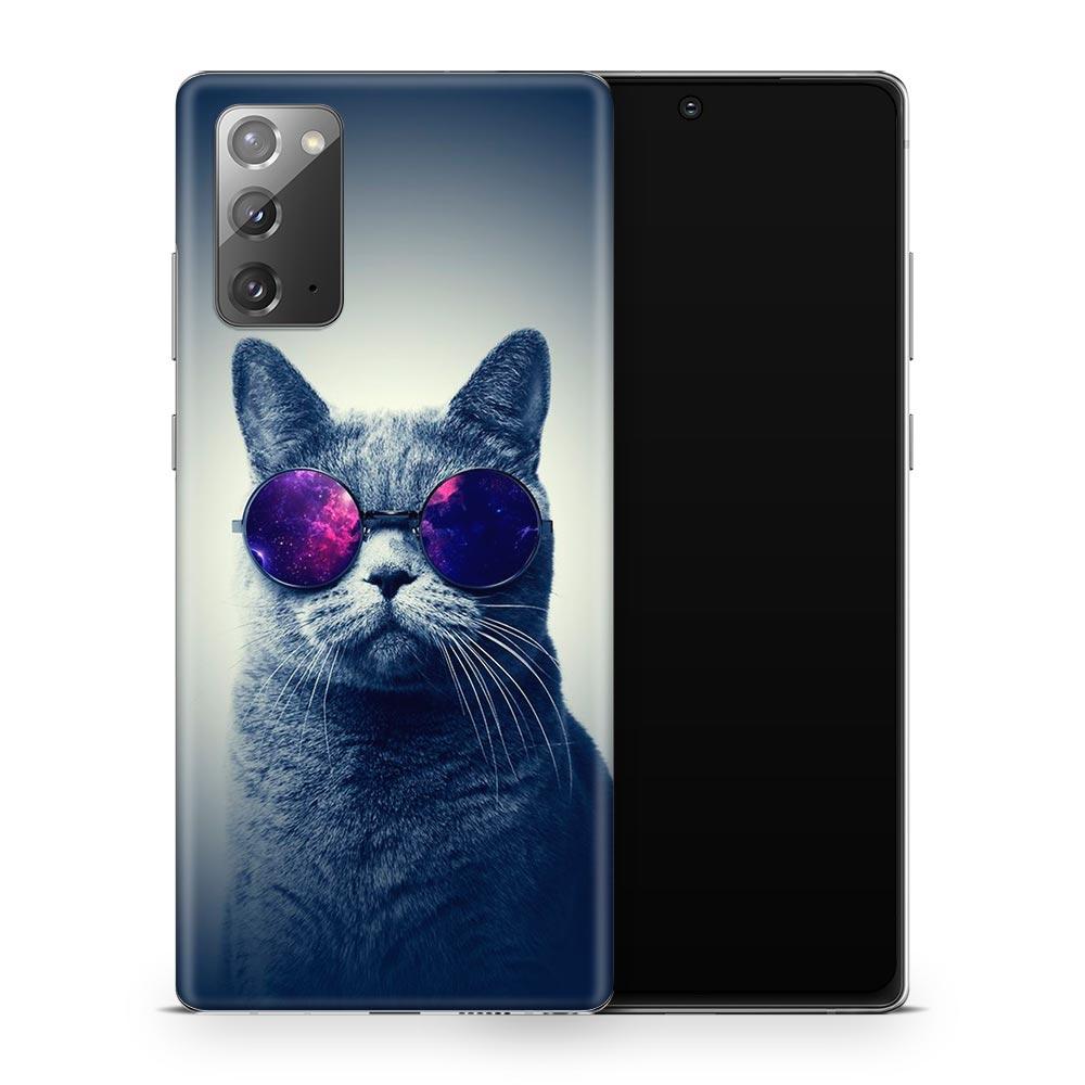 Кожаная наклейка КОТ В ОЧКАХ для Samsung Galaxy Note 20