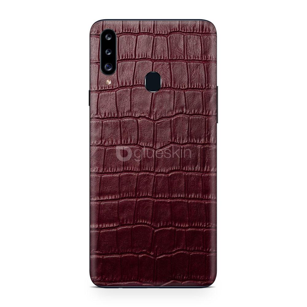 Кожаная наклейка WINE RED CROCO для Samsung Galaxy A20s