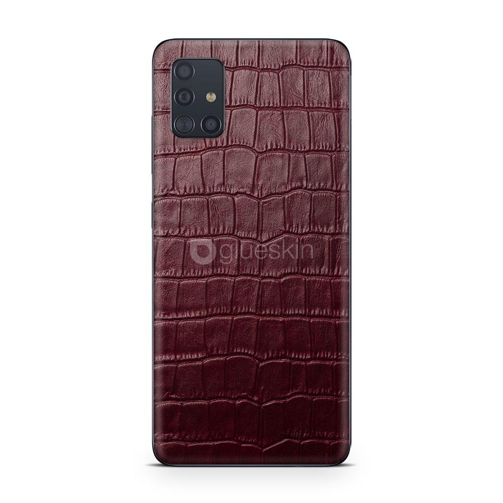 Кожаная наклейка WINE RED CROCO для Samsung Galaxy M51