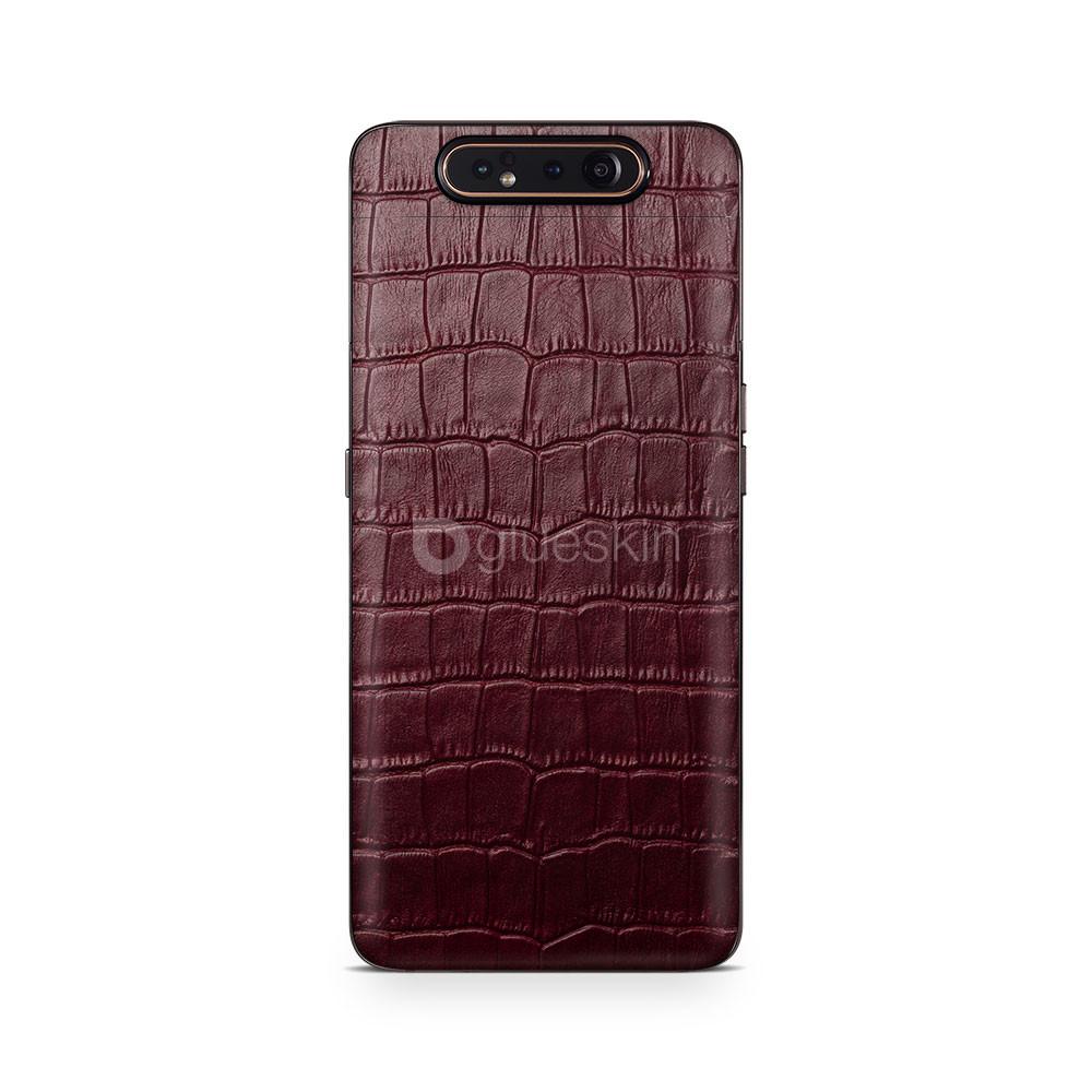 Кожаная наклейка WINE RED CROCO для Samsung Galaxy A80