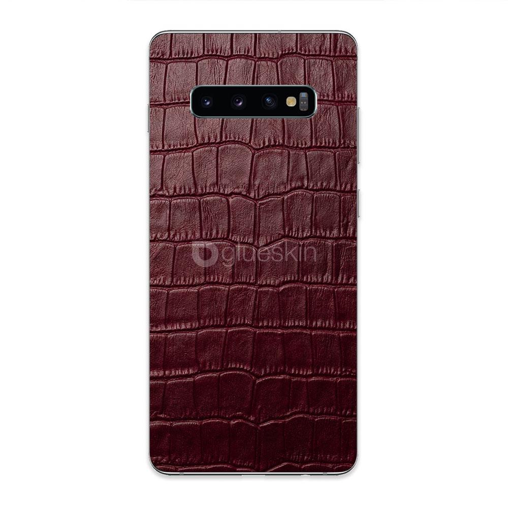 Кожаная наклейка WINE RED CROCO для Samsung Galaxy S10