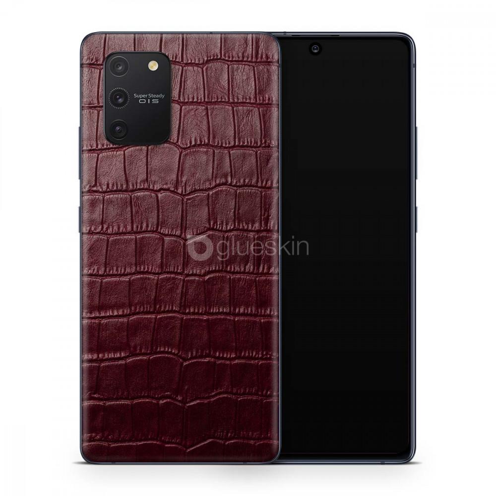 Кожаная наклейка WINE RED CROCO для Samsung Galaxy S10 Lite