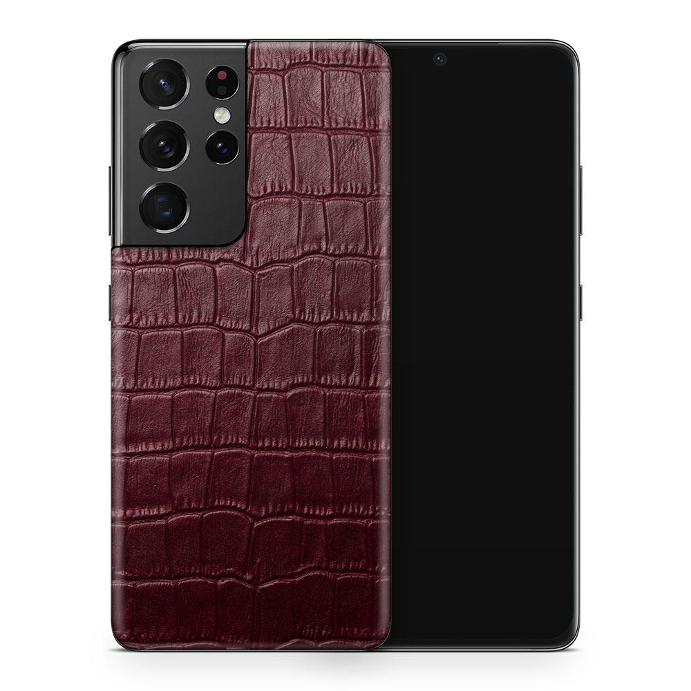 Кожаная наклейка WINE RED CROCO для Samsung Galaxy S20 Ultra