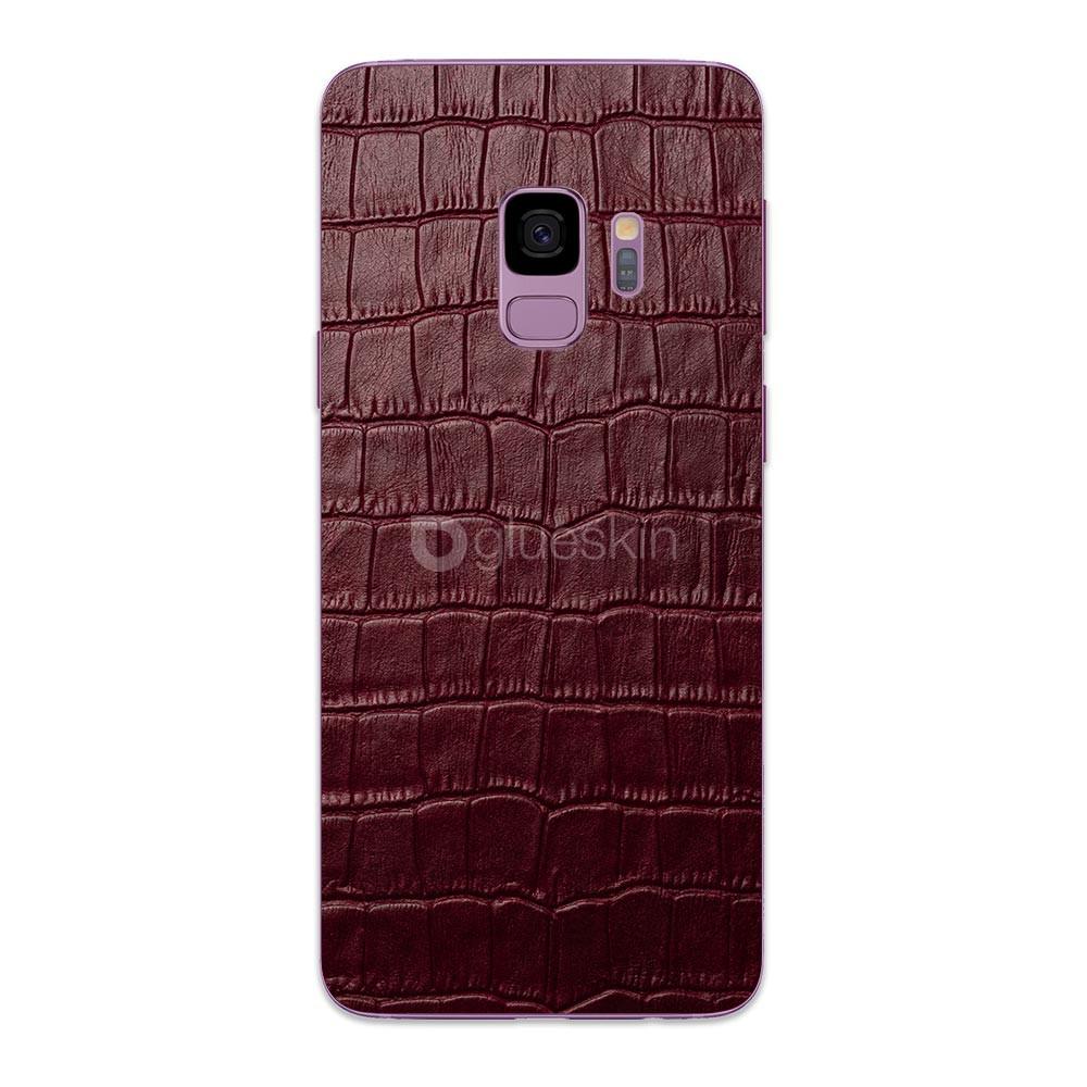 Кожаная наклейка WINE RED CROCO для Samsung Galaxy S9